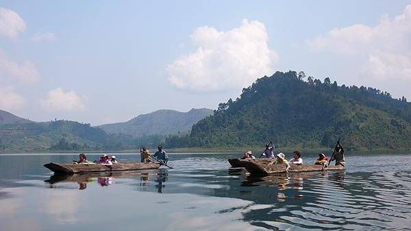 Canoeing on The beautiful Lake Bunyonyi