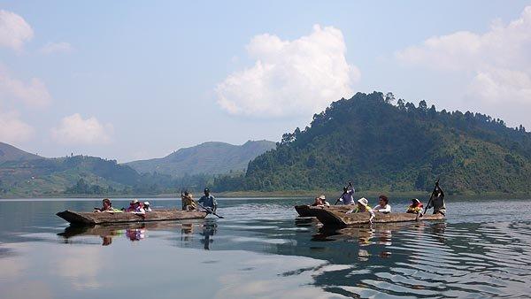 Canoeing on The beautiful Lake Bunyonyi